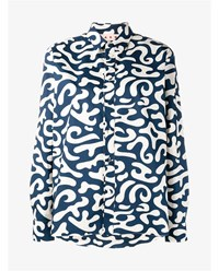 Marni Printed Cotton Shirt Blue White Navy Blue