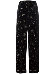Valentino Star Embroidered Palazzo Pants Black