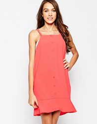 Neon Rose Mini Slip Dress With Relax Frill Hem Red
