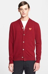 Men's Comme Des Garcons 'Play' Wool Cardigan With Heart Applique Burgundy