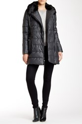 Vince Camuto Asymmetrical Down Coat With Faux Fur Trim Gray