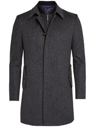 Ted Baker Arizona Overcoat And Quilted Gilet Charcoal
