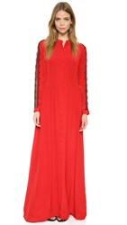The Kooples Long Lace Paneled Silk Dress Red