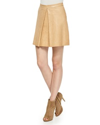 Alice Olivia Russo Inverted Pleat Leather Skirt
