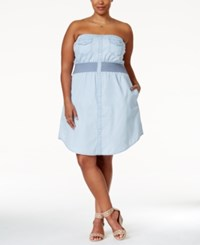 American Rag Plus Size Strapless Smocked Chambray Dress Only At Macy's Pippy Wash