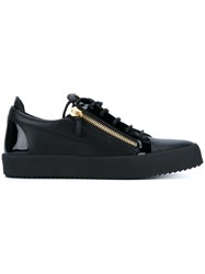 Giuseppe Zanotti Design Leather Lo Tops With Gold Zips Black