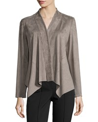 Bagatelle Draped Faux Suede Jacket Light Gray