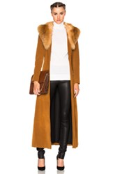 Theperfext Penny Lane Long Suede Coat With Fox Fur Collar In Brown