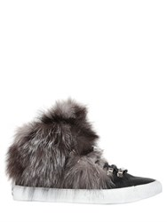 Black Dioniso 20Mm Fox Fur And Leather Sneakers