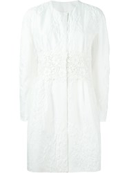 Moncler Gamme Rouge Floral Brocade Coat White