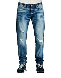 Cult Of Individuality Greaser Straight Prim Wash Jeans Blue