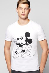 Boohoo Mickey Mouse Print T Shirt White