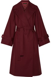 The Row Swells Oversized Stretch Cotton Coat Claret