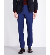 Corneliani Regular Fit Wool And Mohair Blend Trousers Open Blue