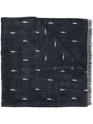Neil Barrett Lightning Bolt Scarf Blue
