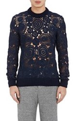 Orley Crocheted Lace Sweater Blue