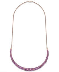 Macy's Amethyst Two Row Frontal Necklace In 14K Rose Gold Over Sterling Silver 9 5 8 Ct. T.W.