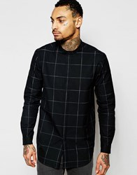 Asos Longline Shirt With Grid Check In Black With Long Sleeves Black