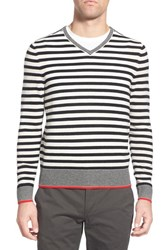 Ag Jeans Men's Ag 'Renton' Stripe Wool And Cashmere V Neck Sweater Natural White Red