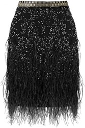 Matthew Williamson Feather Trimmed Embellished Tulle Mini Skirt Black