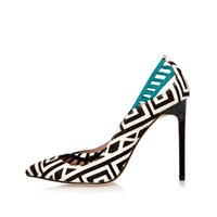 River Island Womens Black Zebra Print Lattice Panel Court Heels