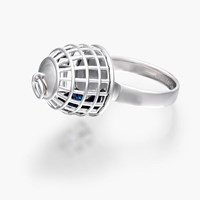 Openjart Cage Ring With Blue Sapphiresterling Silver With Blue Lab Grown Sapphire 5 5.5 6.5