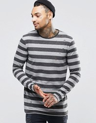 Asos Sheer Slub Longline Long Sleeve T Shirt With Stripe And Distress Grey