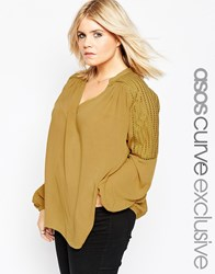Asos Curve 70'S Lace Front Tunic Top With Embroidery Chartreuse