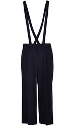 Tibi Tropical Wool Cropped Pants With Removable Suspenders