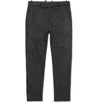 Helbers Slim Cut Cotton Alpaca And Wool Blend Trousers Gray