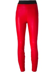 Dolce And Gabbana Leather Leggings Red