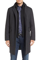 Cole Haan Men's Wool Blend Overcoat With Knit Bib Inset Charcoal