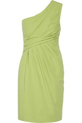 Moschino Cheap And Chic One Shoulder Cotton Blend Mini Dress Green