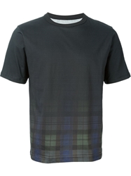 Band Of Outsiders Faded Plaid T Shirt Black