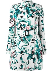 Burberry Floral Trench Coat Emerald