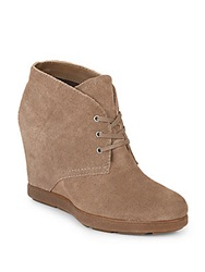 Dolce Vita Pascola Suede Wedge Booties Taupe