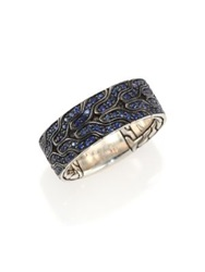 John Hardy Classic Chain Blue Sapphire And Sterling Silver Band Ring Blue Silver