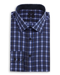 English Laundry Plaid Woven Dress Shirt Blk Navy