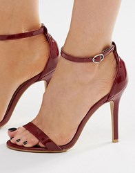 Glamorous Burgundy Patent Two Part Heeled Sandals Burgundy Patent Red