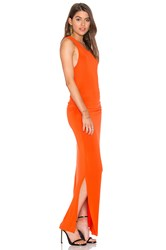 Heather Shirred Midi Tank Dress Orange
