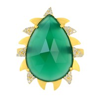 Meghna Jewels Green Onyx And Diamond Claw Ring