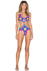 Salinas Runway Cut Out Swimsuit Blue