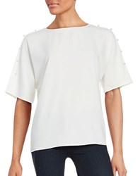 Context Jewelneck Elbow Length Sleeve Top White