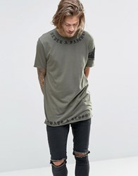 Asos Longline T Shirt With Script Neck And Hem Print And Raw Edges Burnt Olive Green
