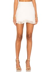 Lucca Couture Short Fringed Skirt Ivory