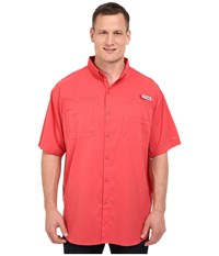 Columbia Big Tall Tamiami Ii S S Sunset Red Men's Short Sleeve Button Up Multi