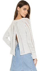 Free People Cross Cable Pullover Ivory Combo