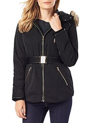 Phase Eight Alanis Faux Fur Trim Puffer Jacket Black