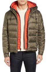 Cole Haan Men's Hooded Puffer Jacket With Hooded Bib Olive