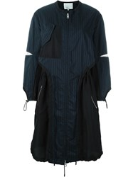 3.1 Phillip Lim Pinstriped Military Parka Blue